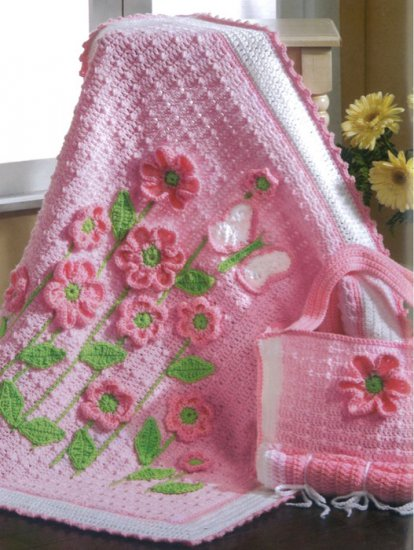 çiçek detaylı örgü bebek battaniyesi