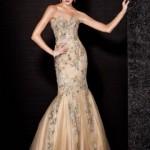 şampanya rengi işlemeli trend balık elbise modeli