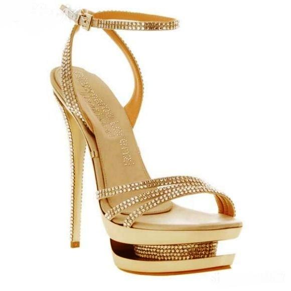 Gianmarco Lorenzi platform topuklu dore taşlı ayakkabı modeli