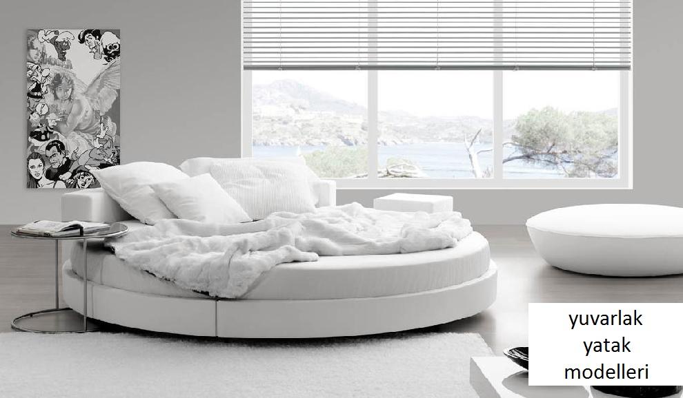 beyaz modern yuvarlak yatak modeli