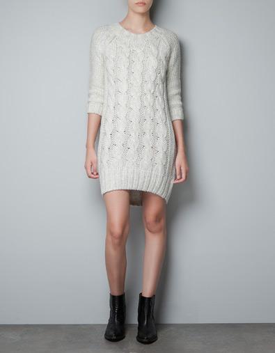 beyaz triko elbise modeli