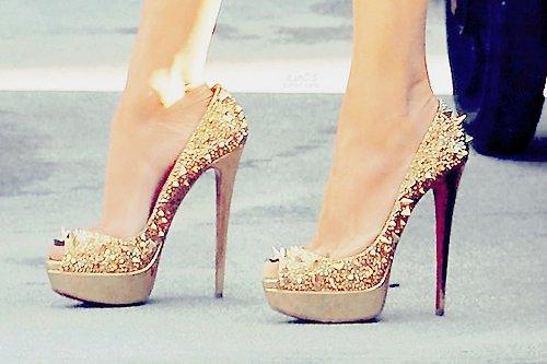 dore renkli abiye ayakkabı