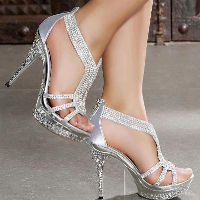 gümüş renkli taşlı abiye gece ayakkabısı