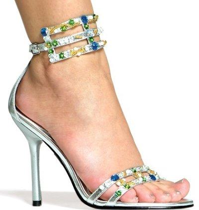 gümüş renkli taşlı gece ayakkabısı