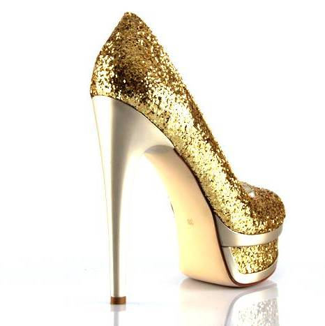 gold simli platformlu bayan ayakkabı modeli