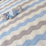 gri mavi basit bebek battaniyesi