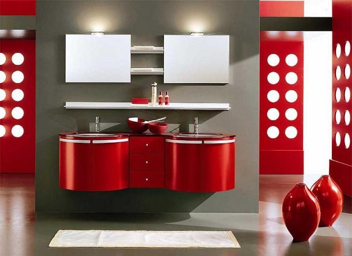 kırmızı modern banyo dolabı