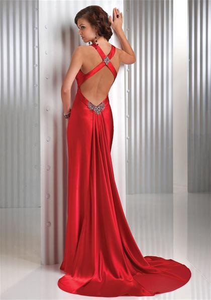 kırmızı sırt dekolteli çapraz bantlı abiye Yeni model