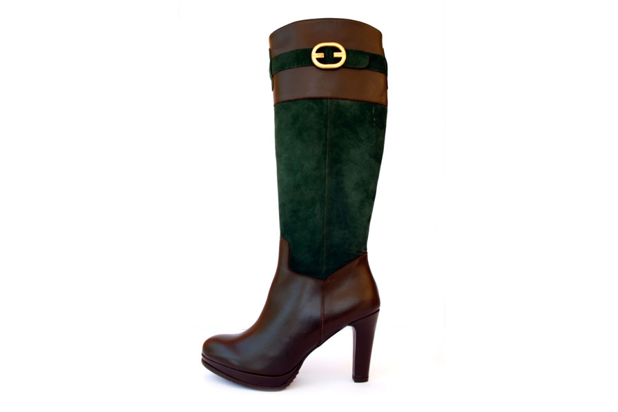 kahve yeşil tokalı çizme modeli