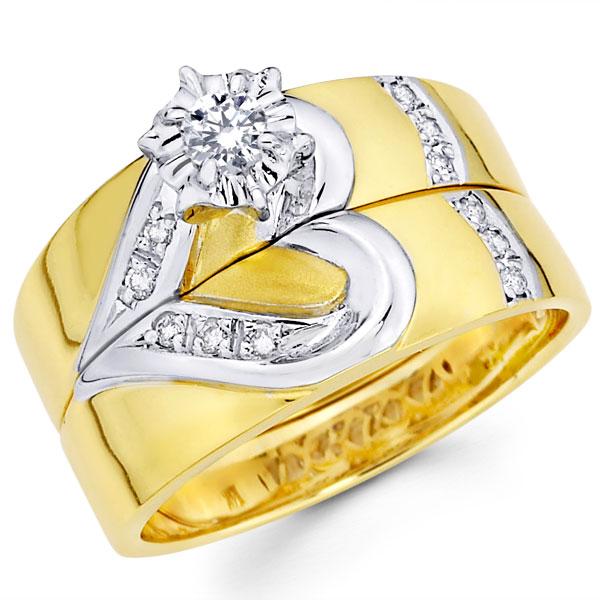 kalp detaylı sarı altın nişan yüzüğü