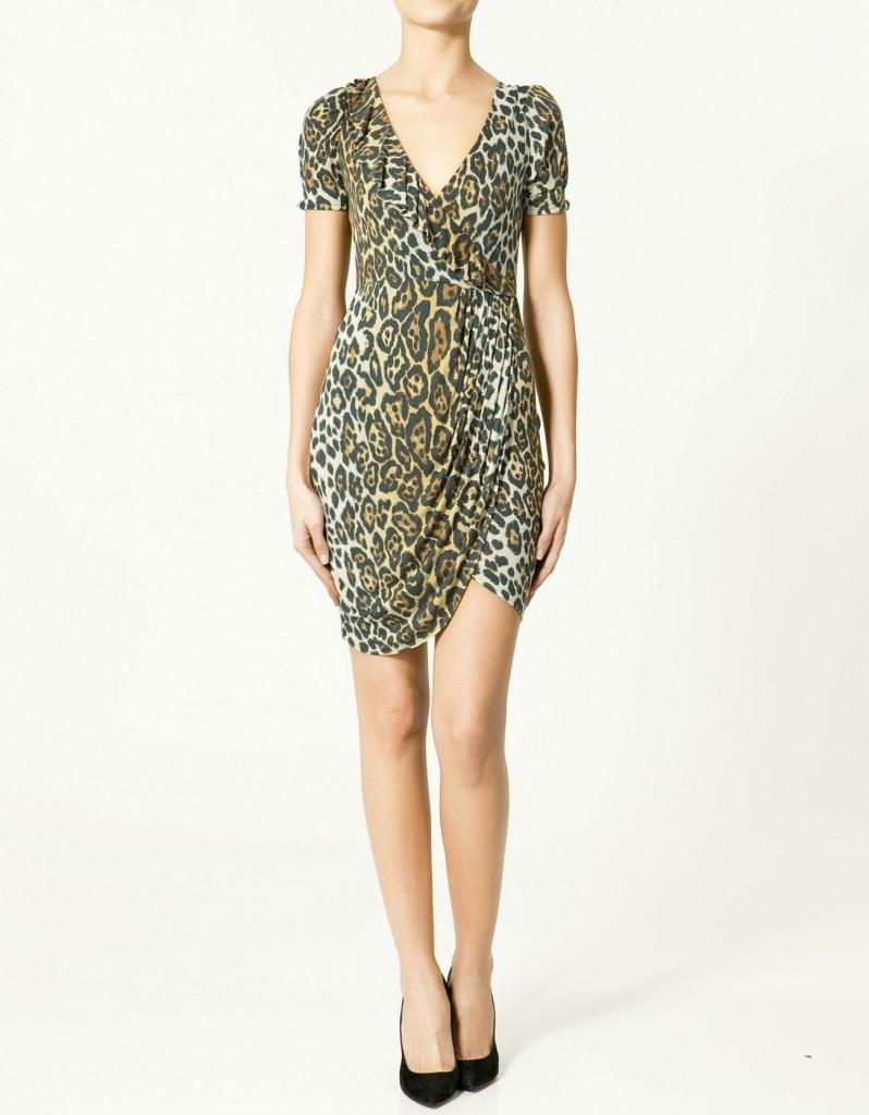 leopar desenli kruvaze elbise modeli