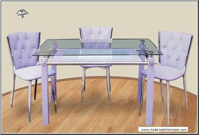 lila kesme cam mutfak masası