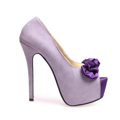 lila platformlu ayakkabı modeli
