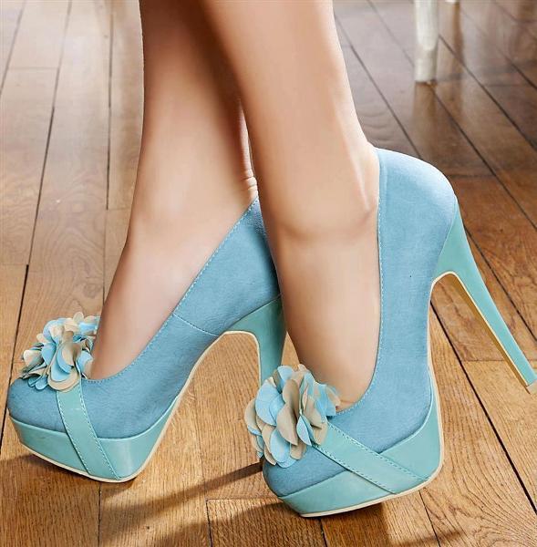 mavi süet topuklu ayakkabı modeli
