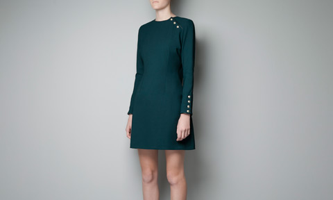 petrol yeşili düğmeli elbise modeli