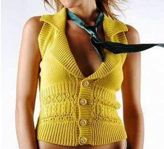 sarı örgü yelek modeli