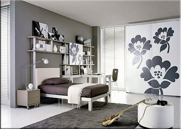 siyah beyaz genç odası
