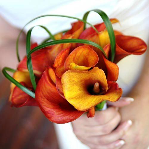 turuncu büyük çiçekli düğün çiçeği