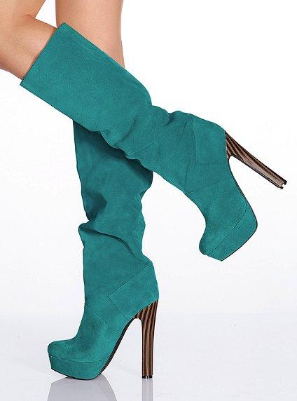 yeşil platform topuklu çizme modeli