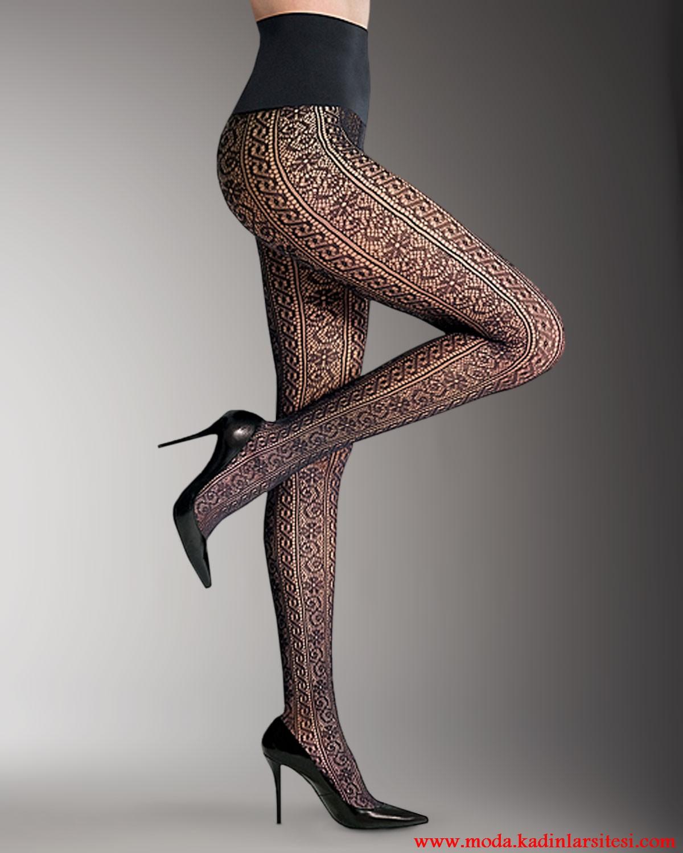 örgü desenli mus çorap modeli