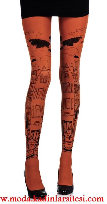 şehir figürlü mus çorap modeli