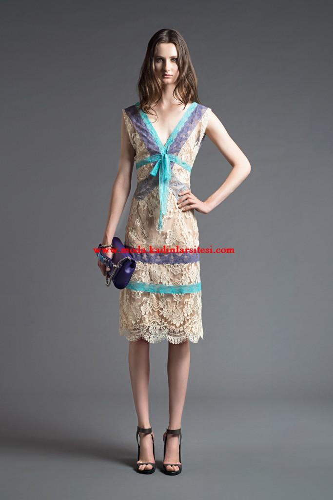 alberta ferretti bej dantel elbise modeli