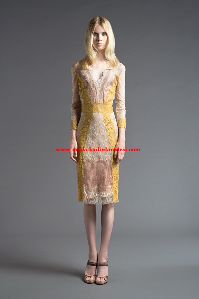 alberta ferretti bej sarı elbise modeli