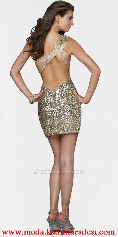 bej payetli mini gece elbisesi modeli