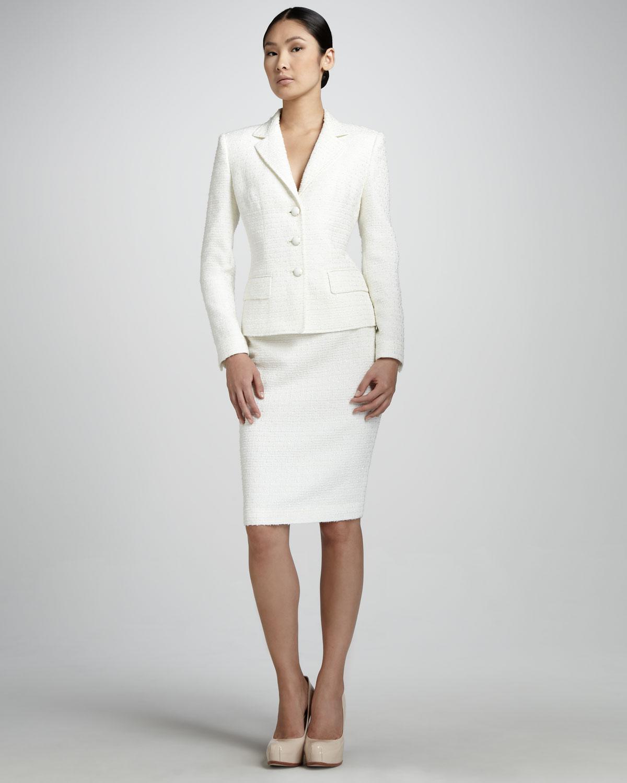 beyaz bayan etek ceketmodeli