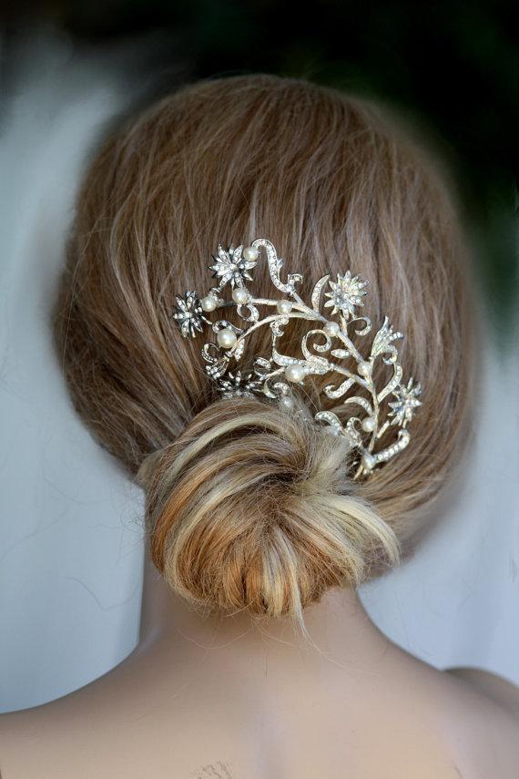 bir dal çiçek saç toka modeli yeni