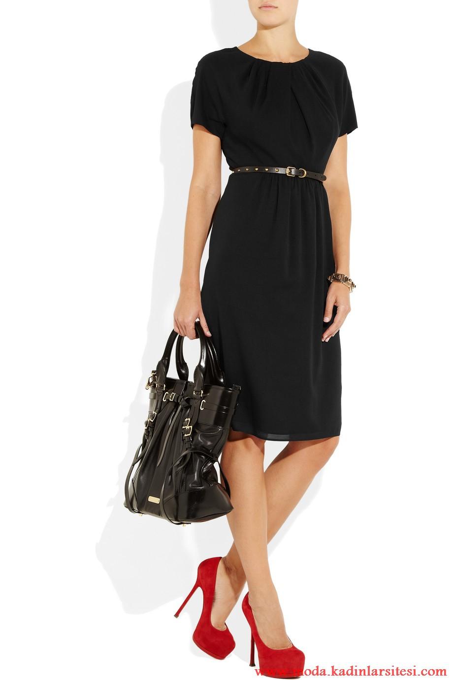 burberry london siyah elbise modeli