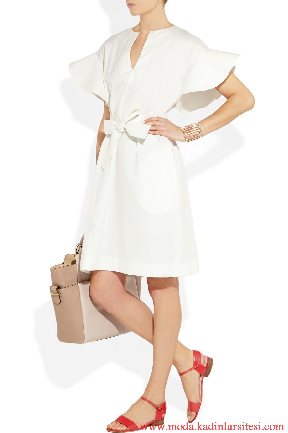 chloe beyaz fiyonklu elbise modeli