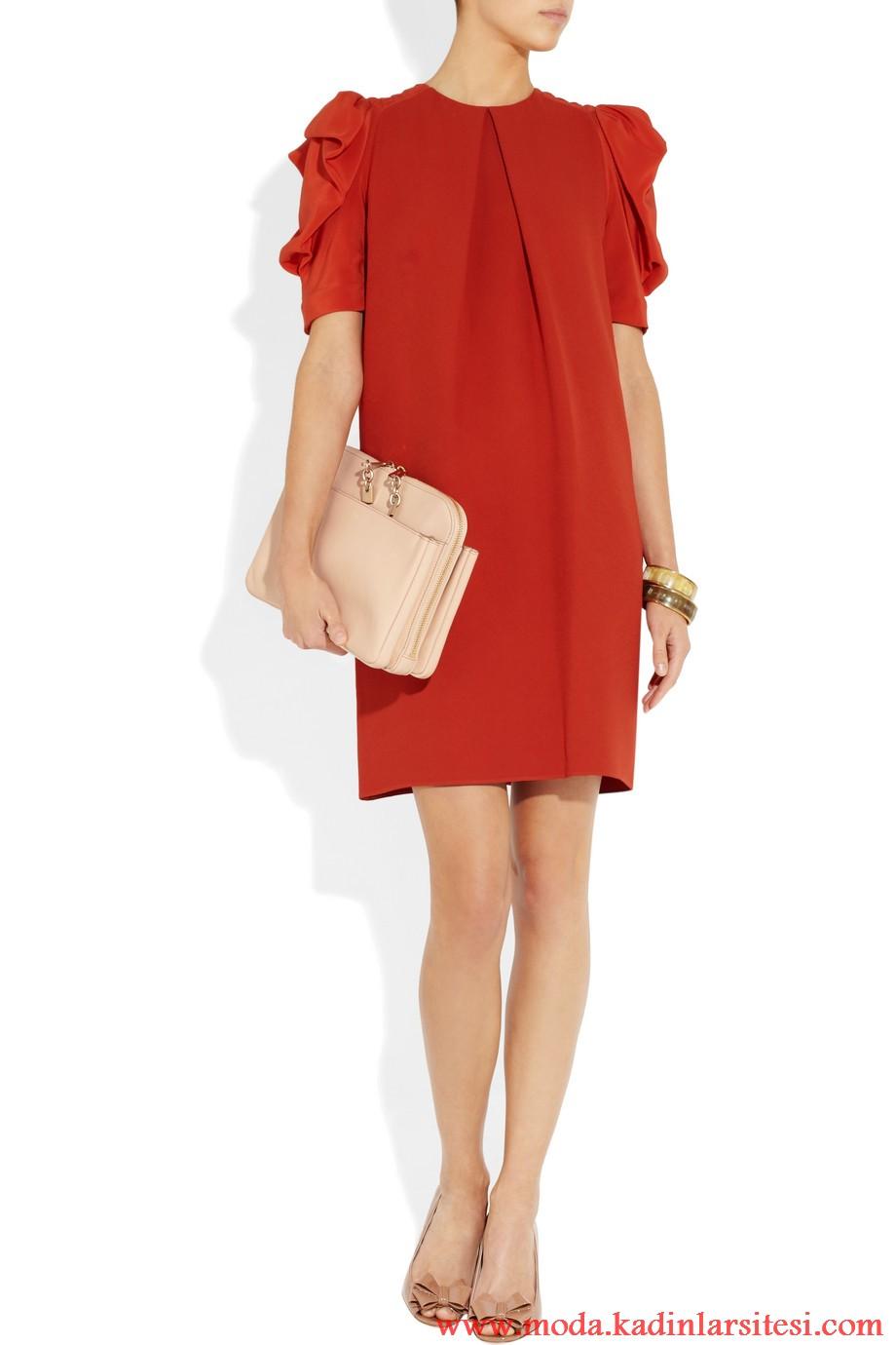 chloe kırmızı elbise modeli