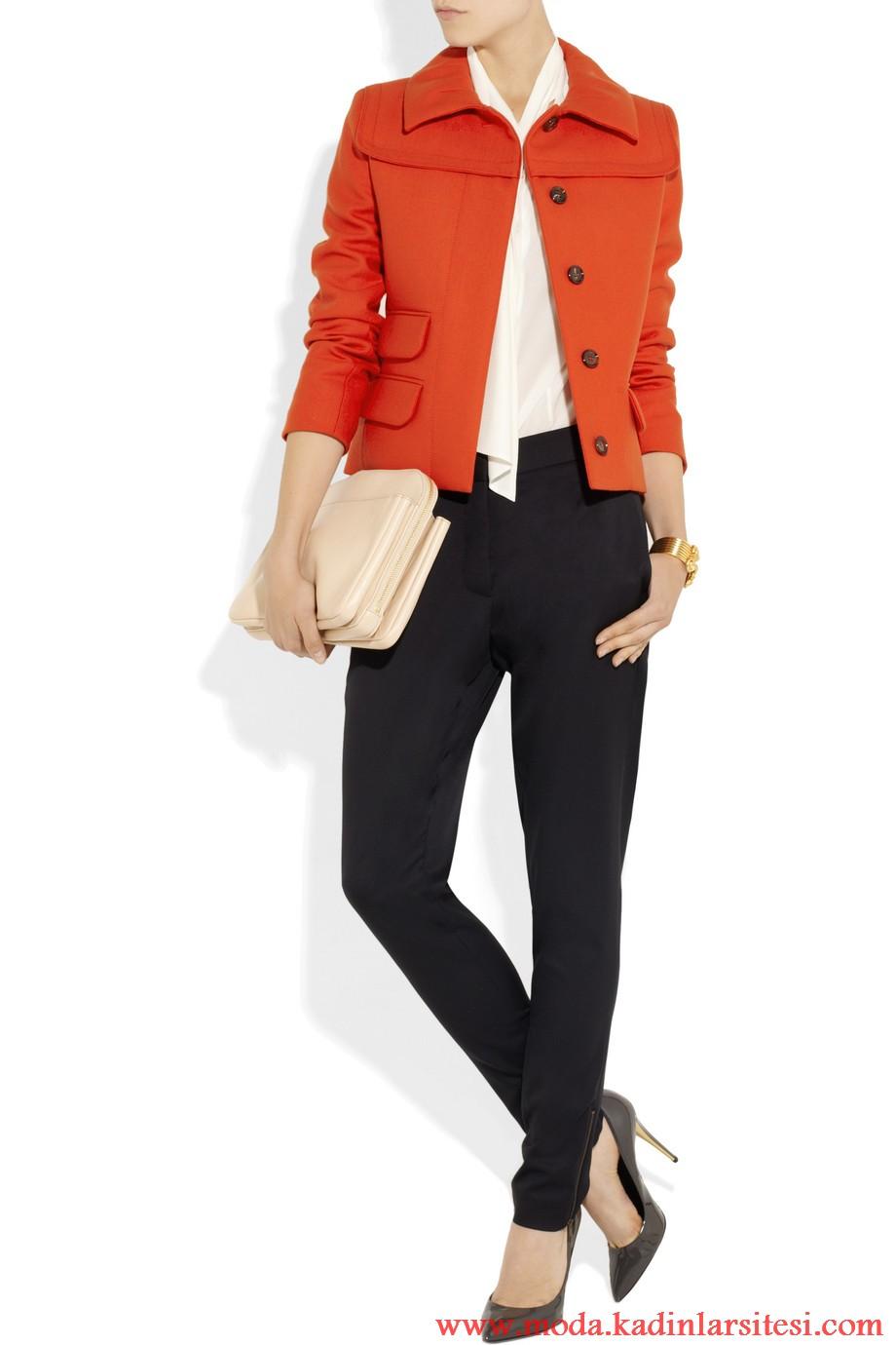 chloe turuncu ceket ve pntolon modeli