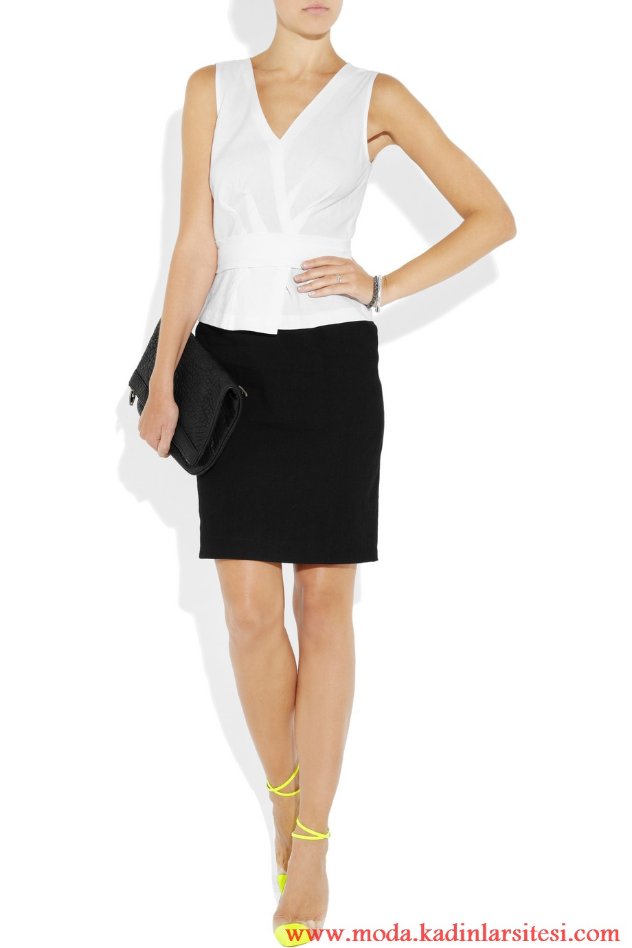 dkny beyaz bluz ve etek modeli