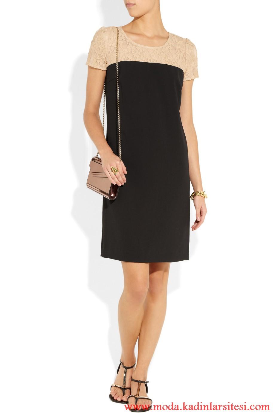 dkny krem siyah elbise modeli
