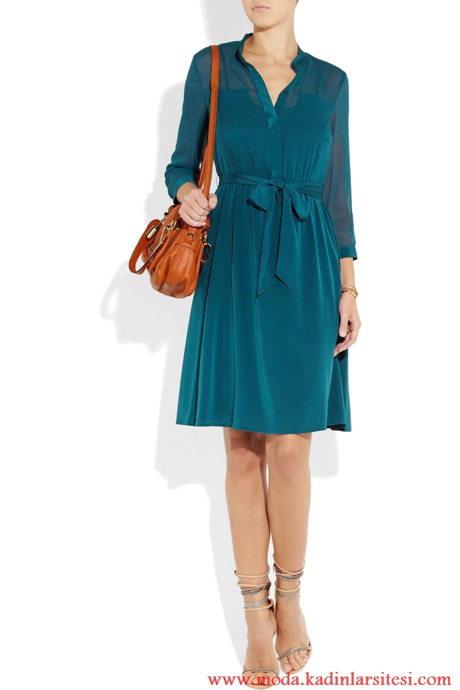 dkny mavi elbise modeli