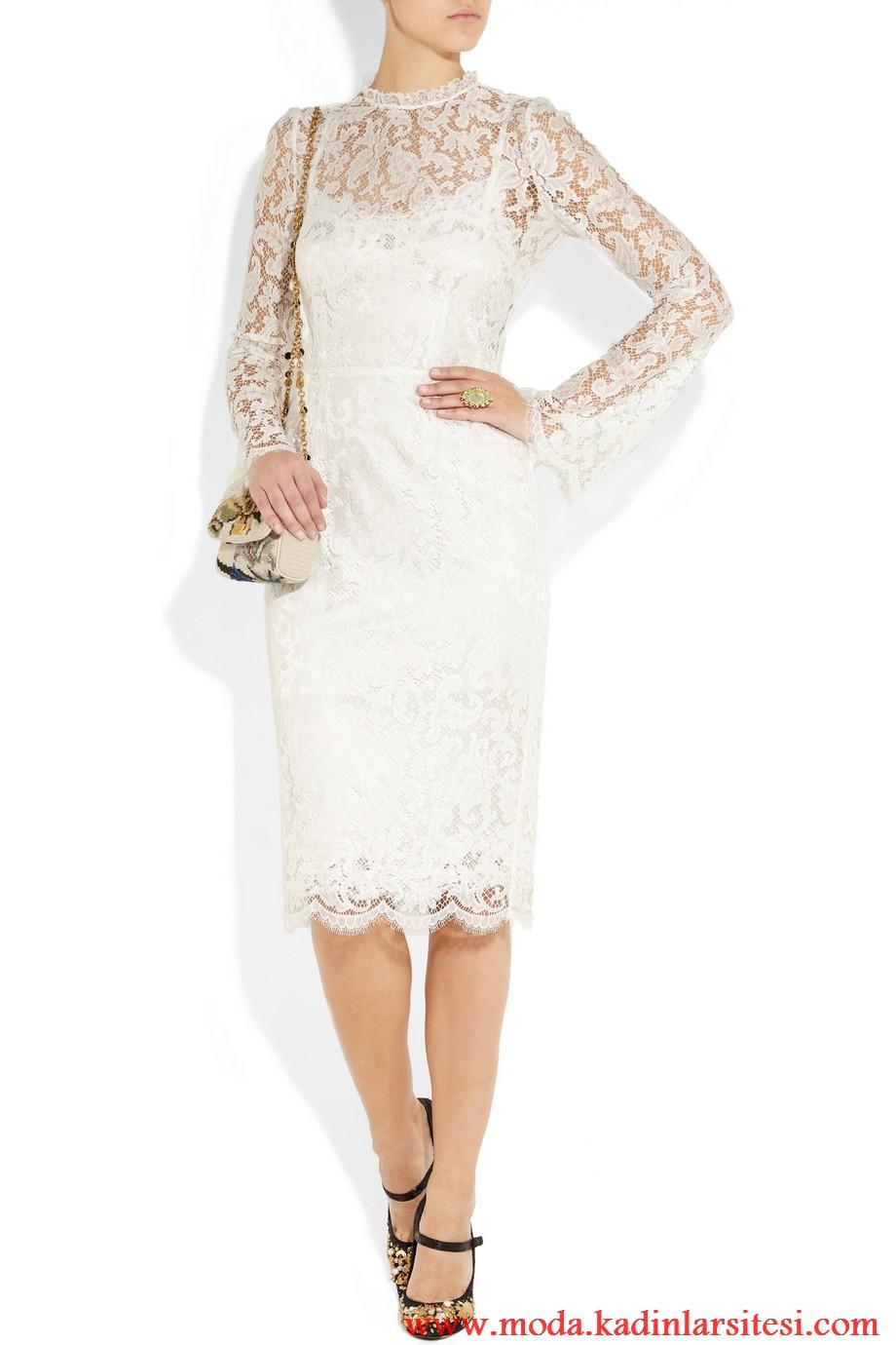 dolce & gabbana beyaz dantel elbise modeli