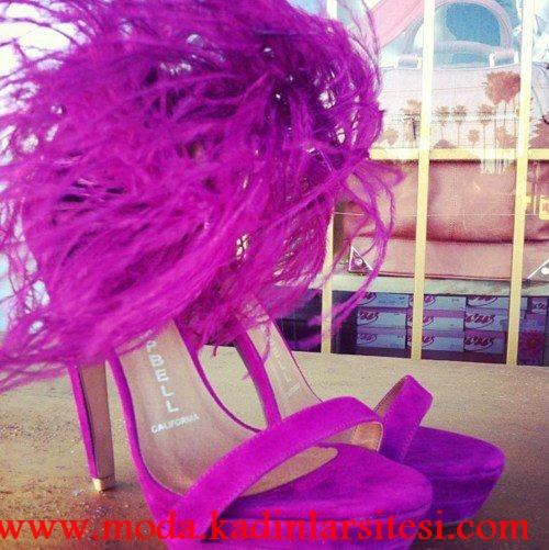 fuşya otrişli ayakkabı modeli