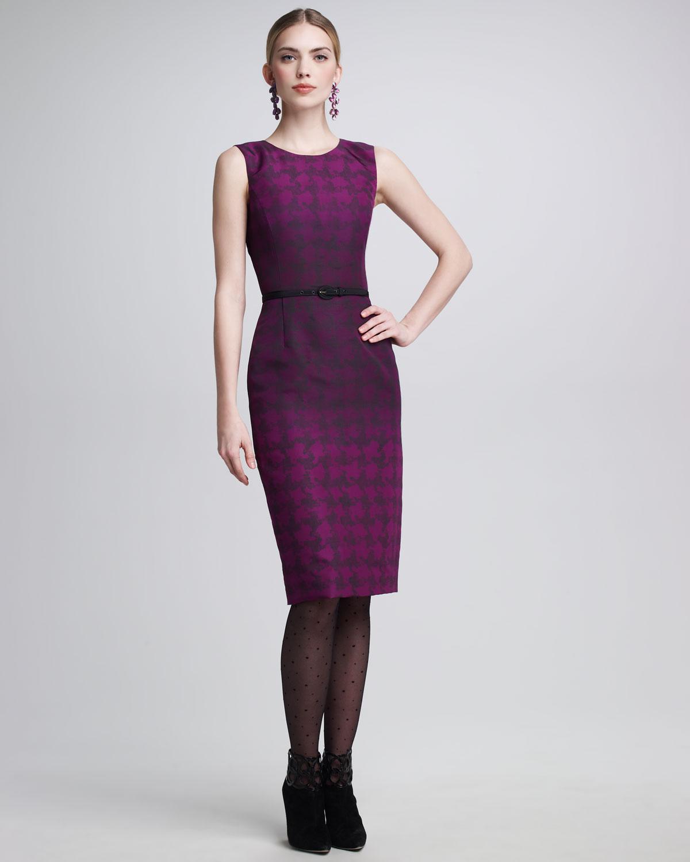 fuşya siyah desenli elbise modeli