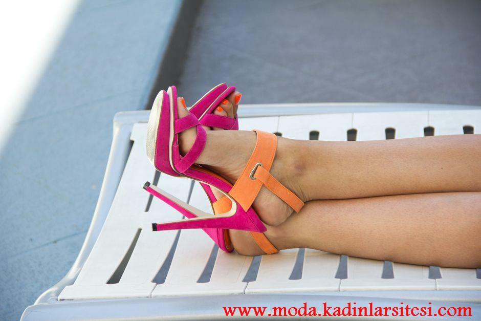 fuşya turuncu ayakkabı modeli