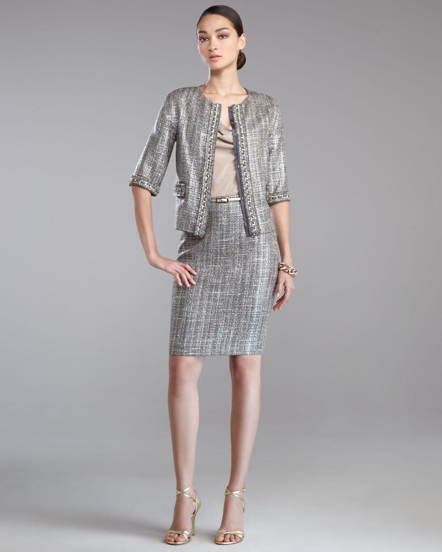 gümüş rengi yarım kol etek ceket modeli