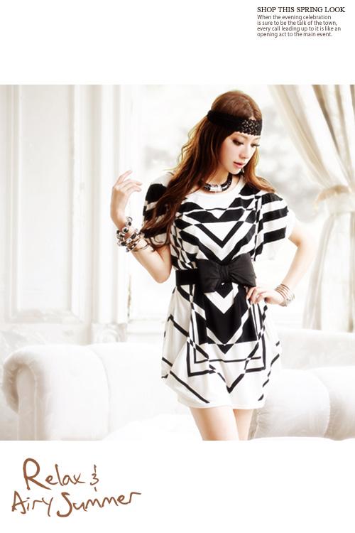geometrik desenli elbise modeli