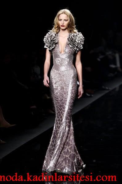 gri payetli gece elbisesi modeli
