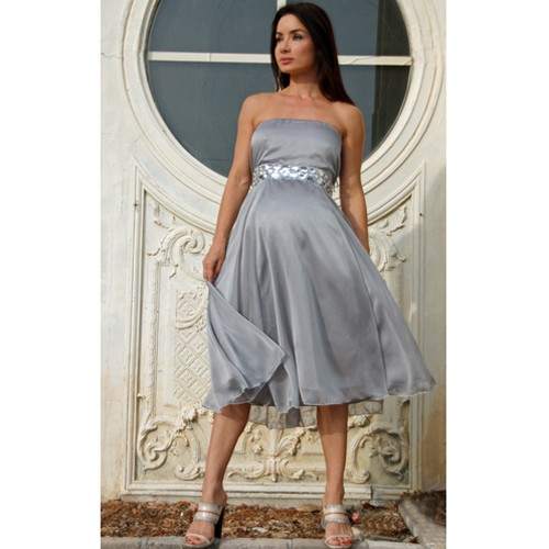 gri straplez hamile elbise yeni model