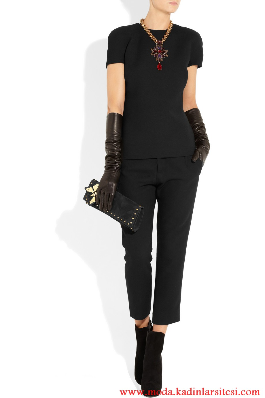gucci siyah body ve pantolon modeli