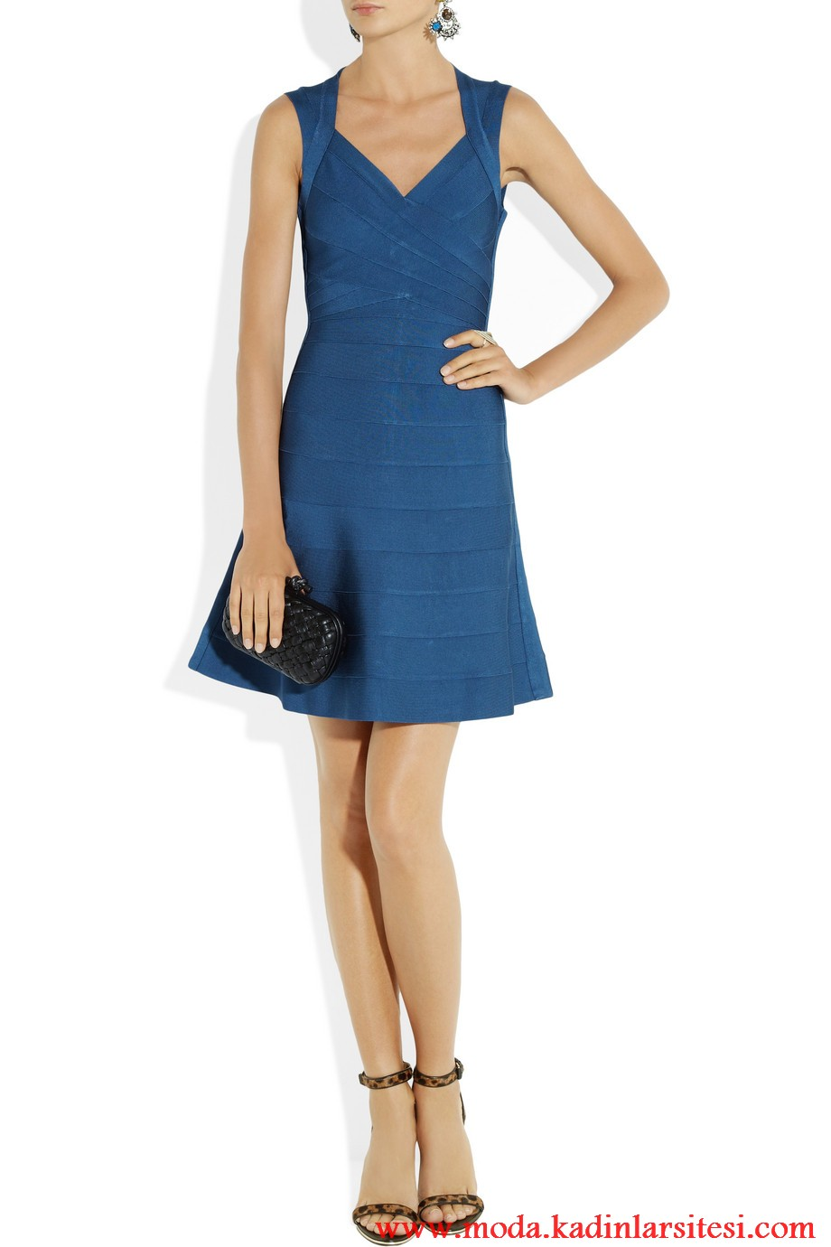 herve leger mavi elbise modeli