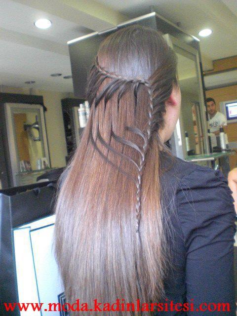 ince örgü farklı saç modeli
