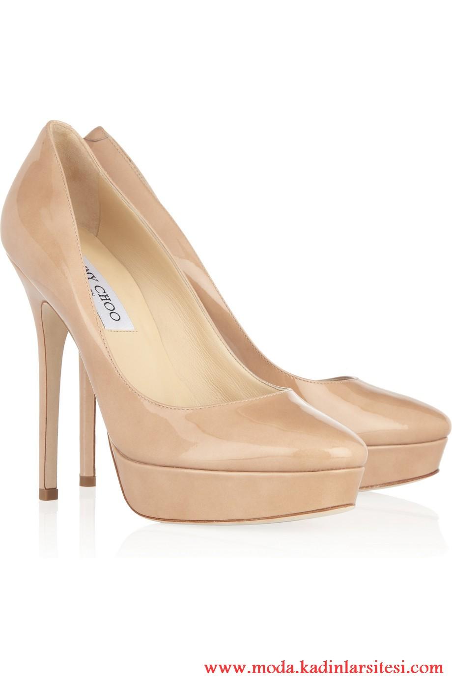 jimmy choo bej platformlu ayakkabı modeli