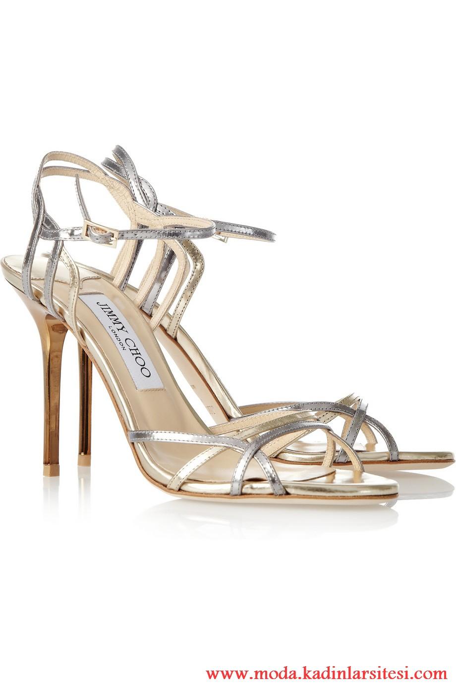 jimmy choo dore ve lame ayakkabı modeli